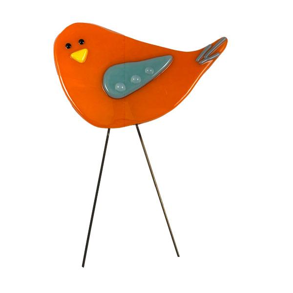 Garden Birds - Orange & Blue by Janet Crosby