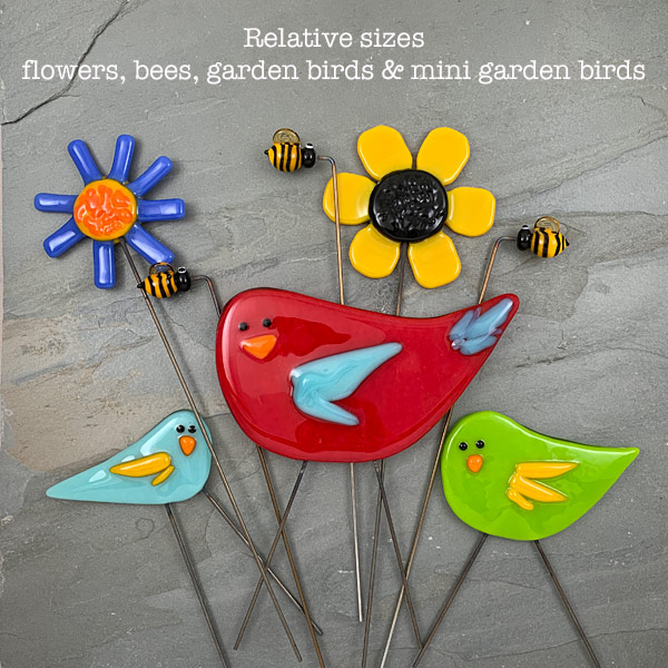Relative sizes of glass garden stakes by Janet Crosby