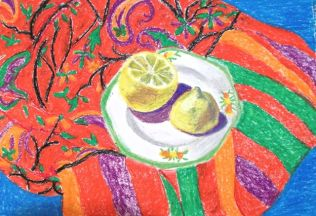 Janet E Davis, Lemon on vintage teaplate on red and green scarf, oil pastels on paper, 2014.
