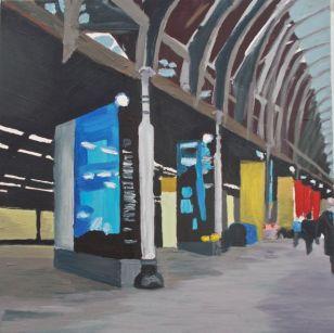 Janet E Davis, Railways - Paddington Station 1 (unfinished), oils on canvas, 2008.