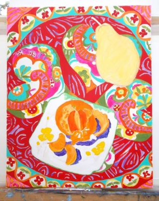 Janet E Davis, Still life - pear, satsuma and scarf stage 5, acrylics on canvas, February 2014.