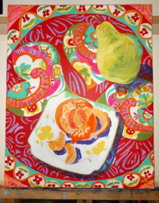 Janet E Davis, Still life - pear, satsuma and scarf stage 6, acrylics on canvas, February 2014.