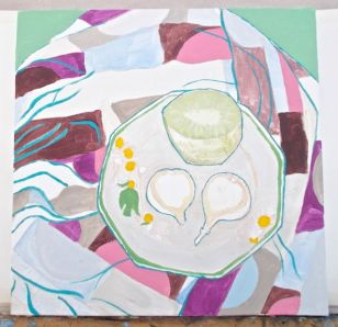 Janet E Davis, Half a kiwi and a fig halved, stage 3, acrylics on canvas, March 2014.