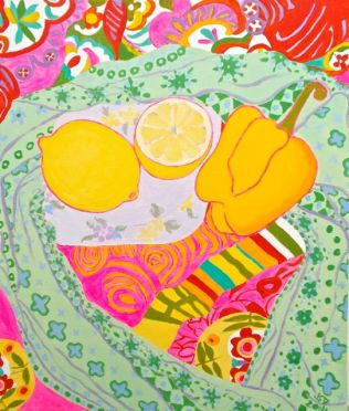Janet E Davis, One and a half lemons and a pepper, acrylics on canvas, March 2014.