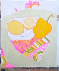 Janet E Davis, One and a half lemons and a pepper stage 4, acrylics on canvas, March 2014.