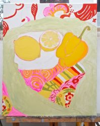 Janet E Davis, One and a half lemons and a pepper stage 6, acrylics on canvas, March 2014.