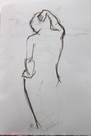 Life study - standing with hand on hip - 2-minute pose.