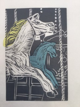 Carousel horse with chîne collé in blue Korean paper.