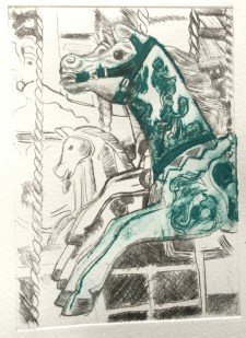 Carousel horse printed with 2 drypoint plates, the green one is a horse-shaped one.