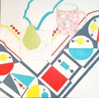 Geometric tablecloth pear mug - 4a