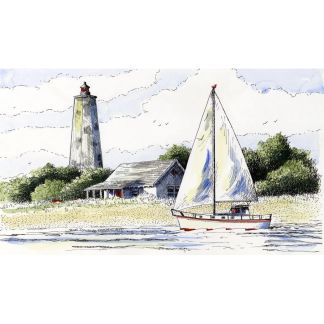 Bald Head Lighthouse watercolor ink