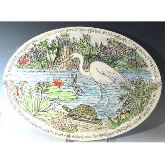 Jan Francoeur Celebration Pottery Nature Series with egret