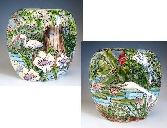Celebration Pottery Jan Francoeur Egret Flat Vase