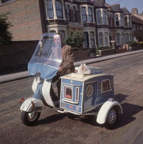 1962: Charles Tumbridge rides his scooter through the streets of London, with dog Susie in the sidecar. (Getty Images). With thanks to MentalFloss.com for bringing this photo to my attention.