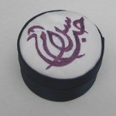 Love and Peace ('Houb salaam') embroidered box,, 3 inches diameter