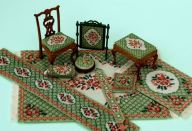 The 'Barbara (green)' range of doll's house needlepoint kits on fabrics from 18 count canvas to 32 count silk gauze, available from www.janetgranger.co.uk