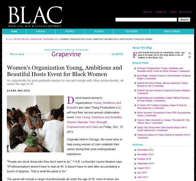 """BLAC Magazine"" #JTPYABDetroit Press"