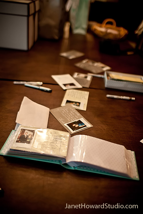 Guestbook instant photos with retro photo corners