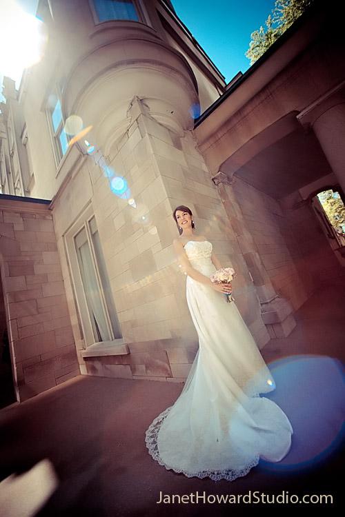 Bridal sun flare at Wimbish House