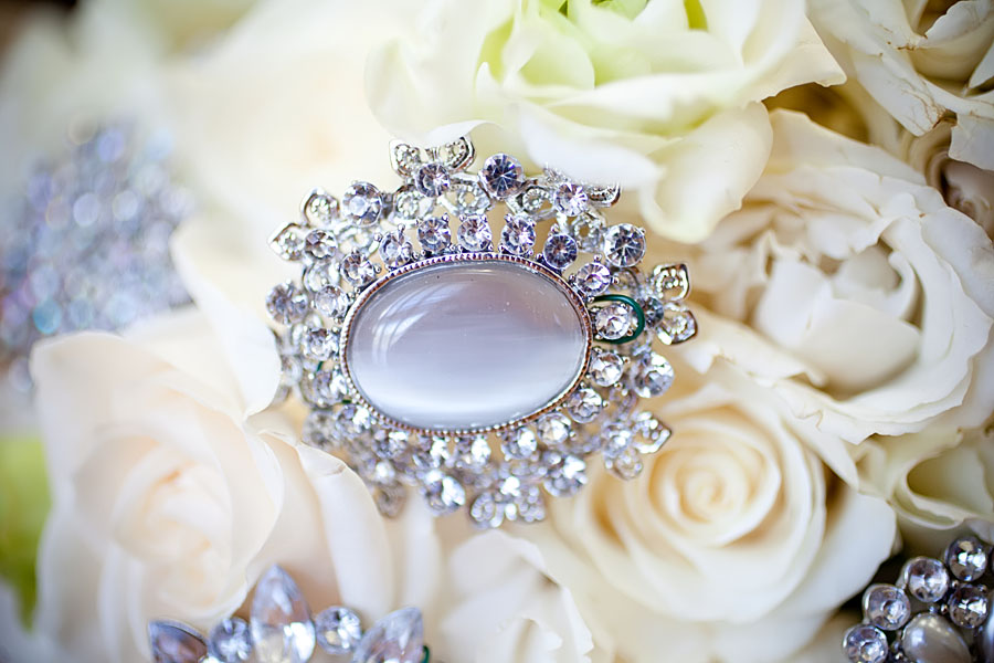 Bridal bouquet crystal detail