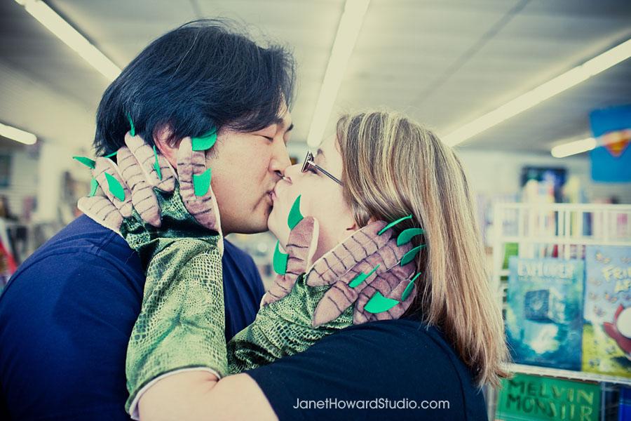 Monster glove engagement kiss