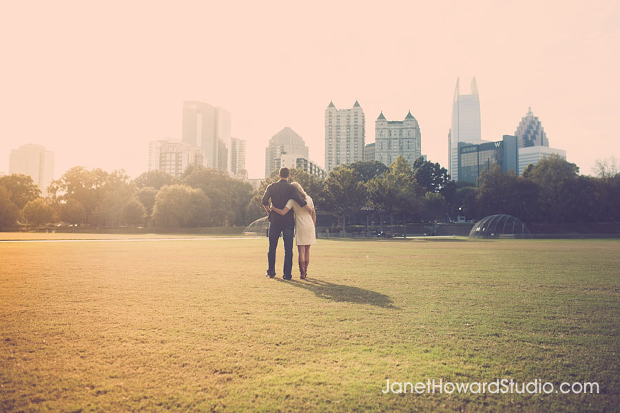 View of Atlanta from Piedmont Park Engagement Session
