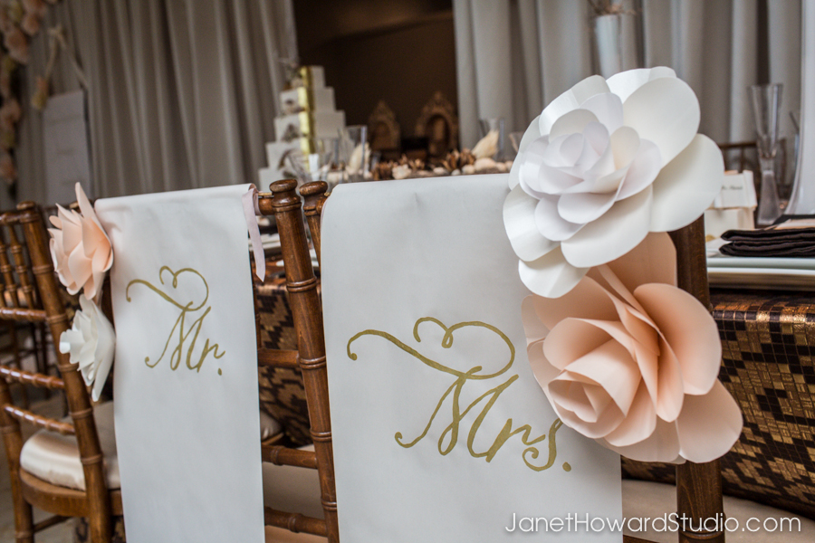 Bride and groom chair scrolls