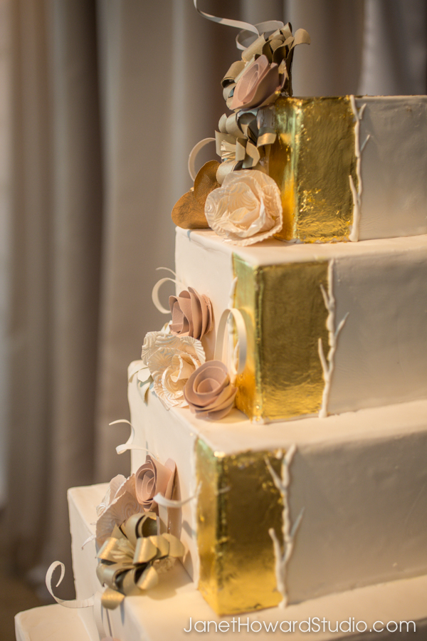Gold leaf square wedding cake