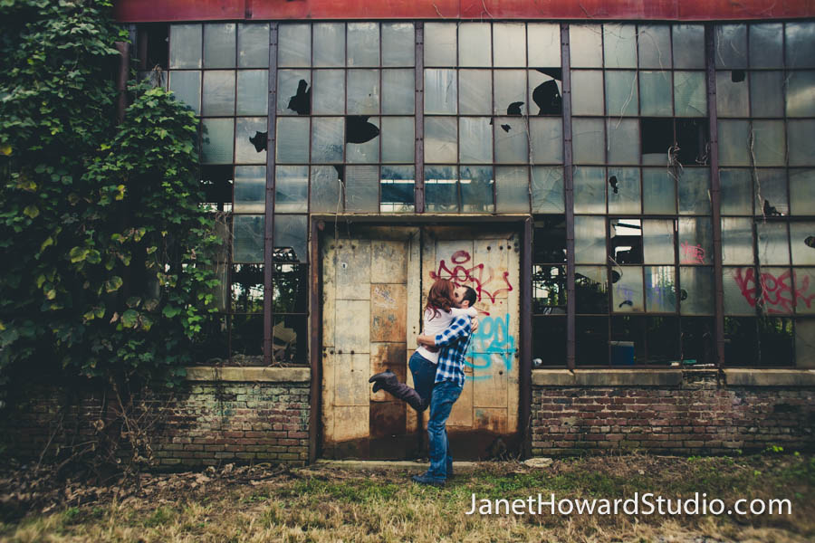 Atlanta engagement session at the Goat Farm