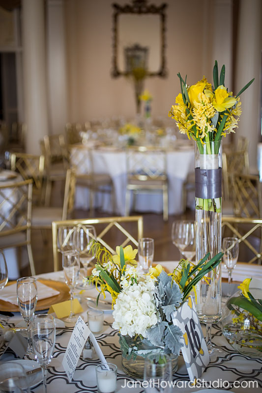 Yellow wedding florals