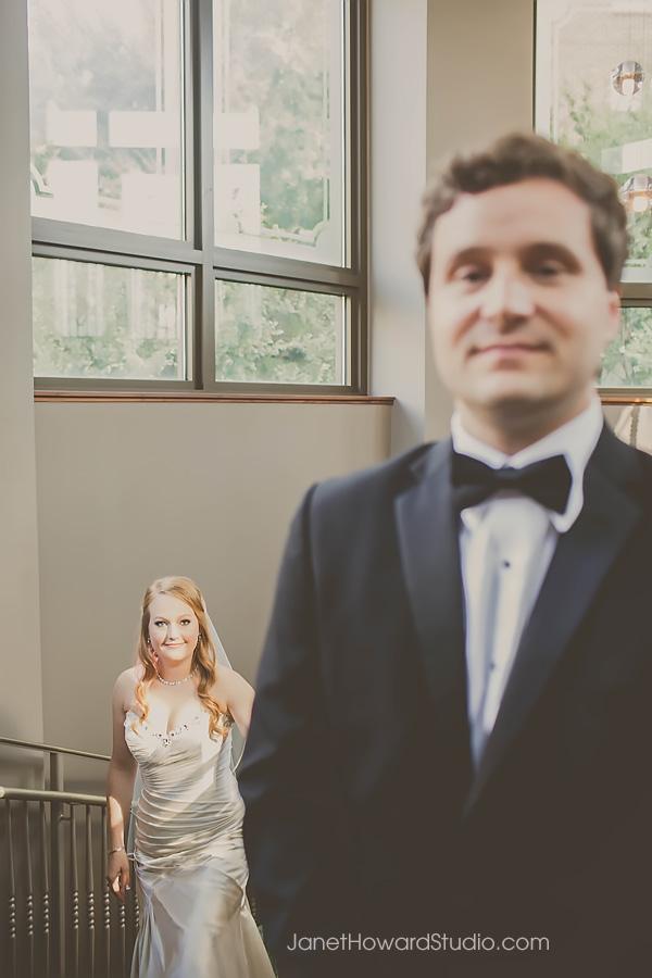 Bride and Groom first look at Renaissance Midtown Atlanta