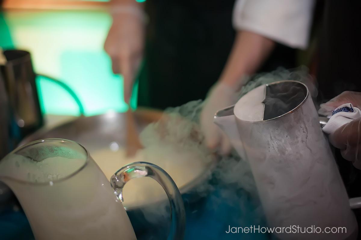 ice cream made table side with liquid nitrogen