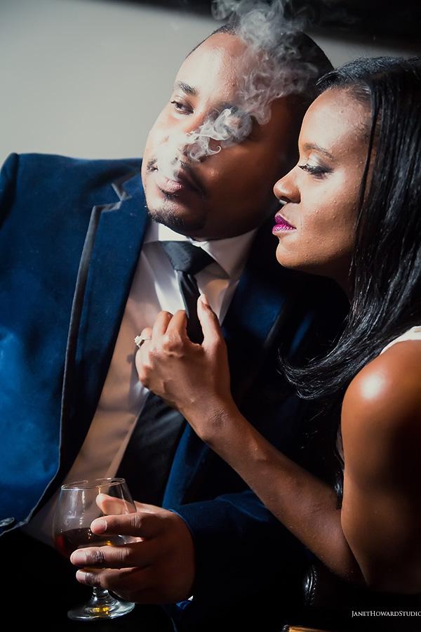 Engagement session at The Leaf Cigar Lounge