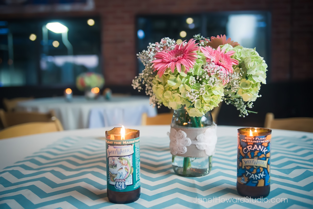 DIY wedding decor with Sweetwater beer bottles