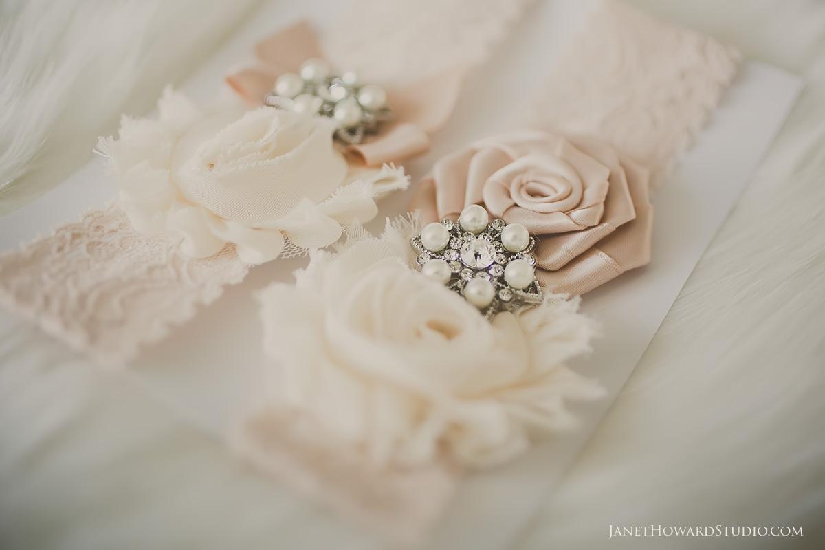 Soft pink bridal garter