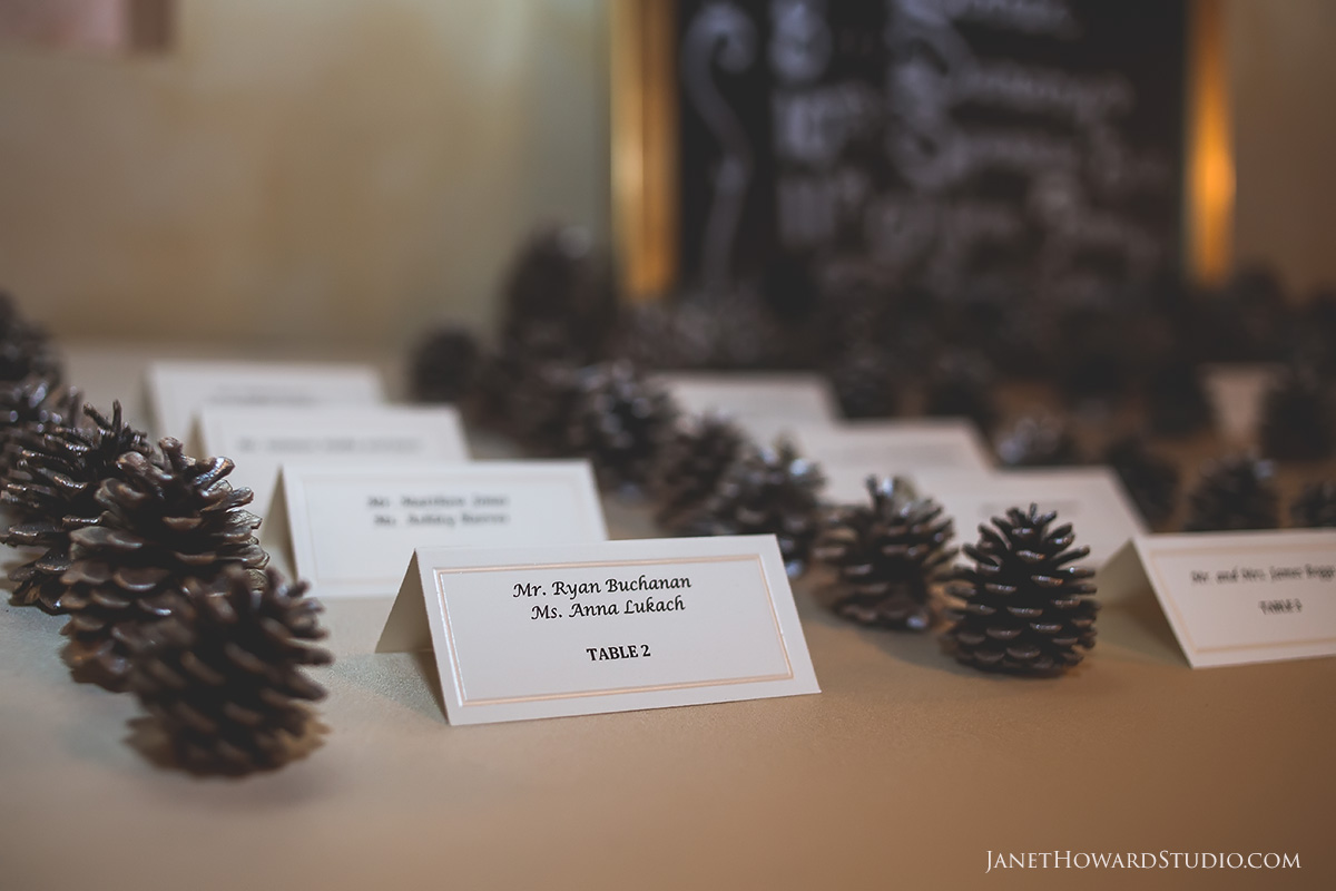 Pinecone escort card table