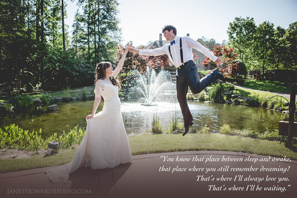 Peter Pan themed bride and groom