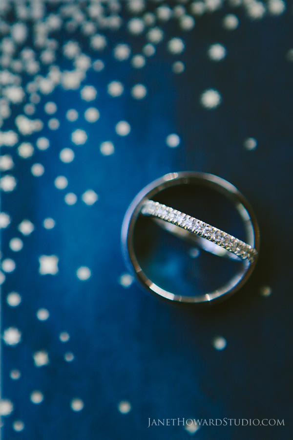 Wedding rings on star invitation