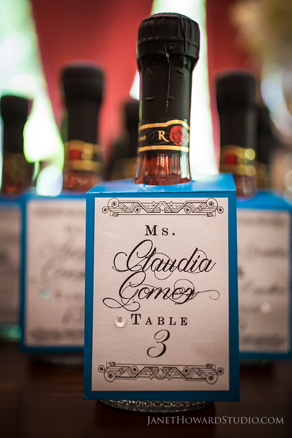 Wine bottle wedding favor escort cards