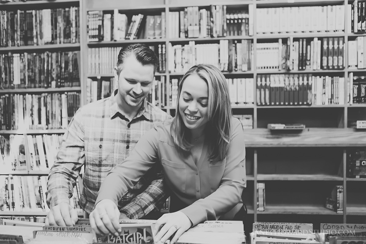 engagement photos at record store