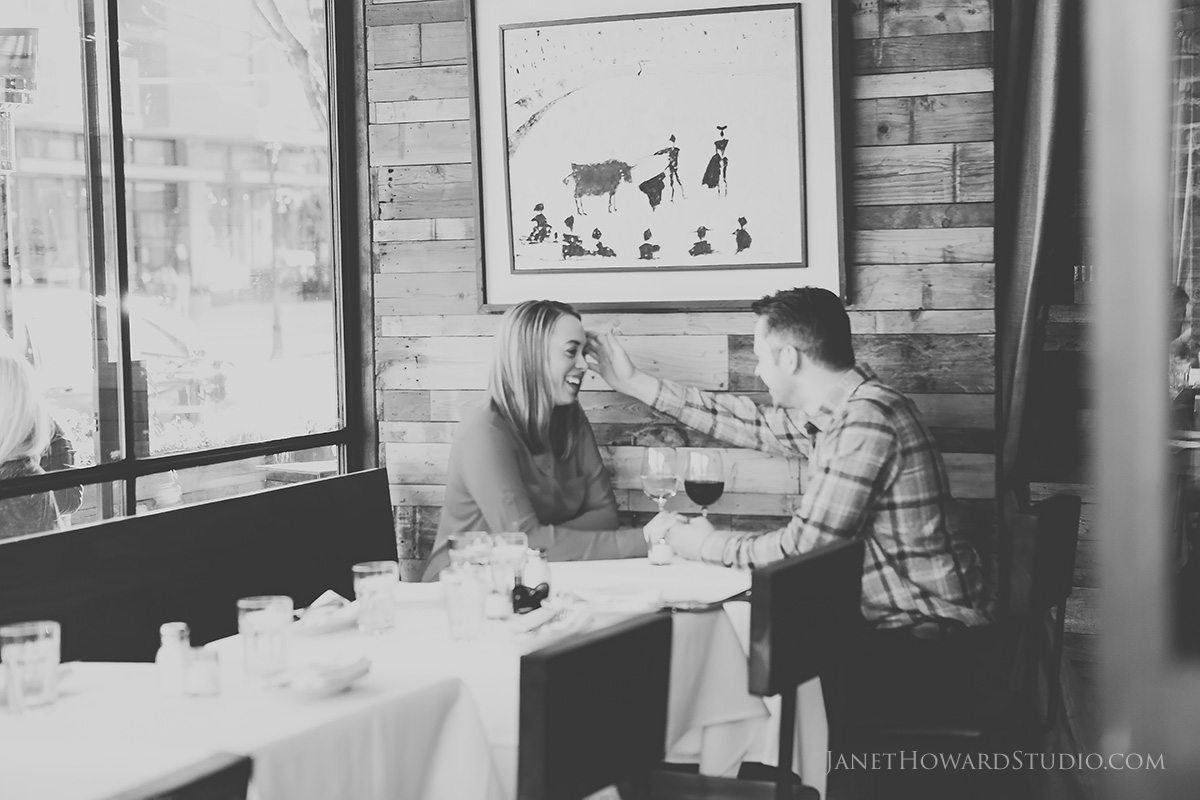 engagement photos at barcelona wine bar