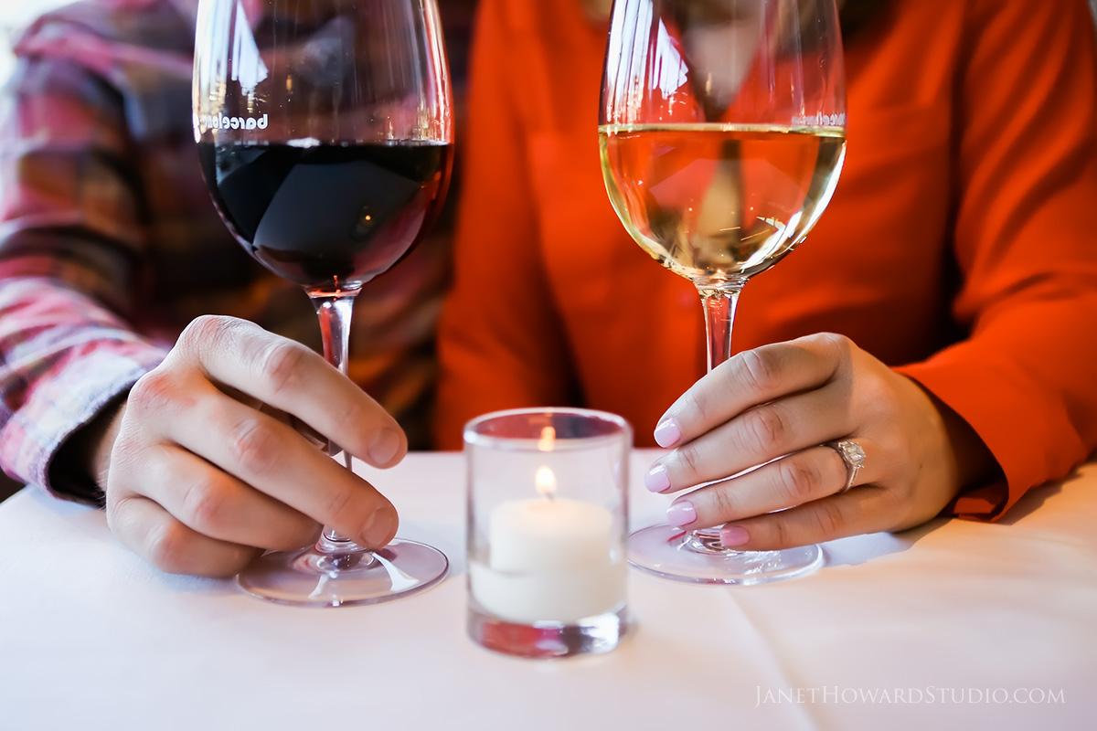 engagement photos at barcelona wine bar