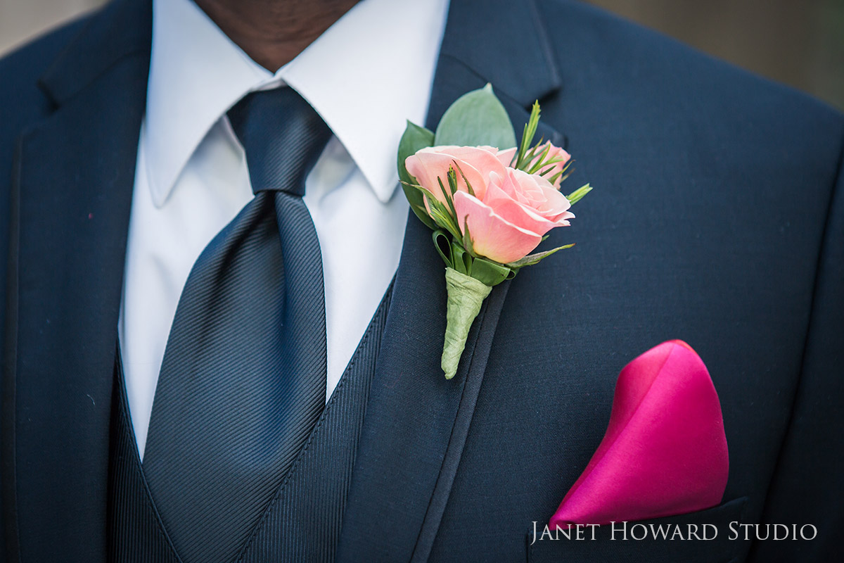 Peach boutonniere and pink pocket square
