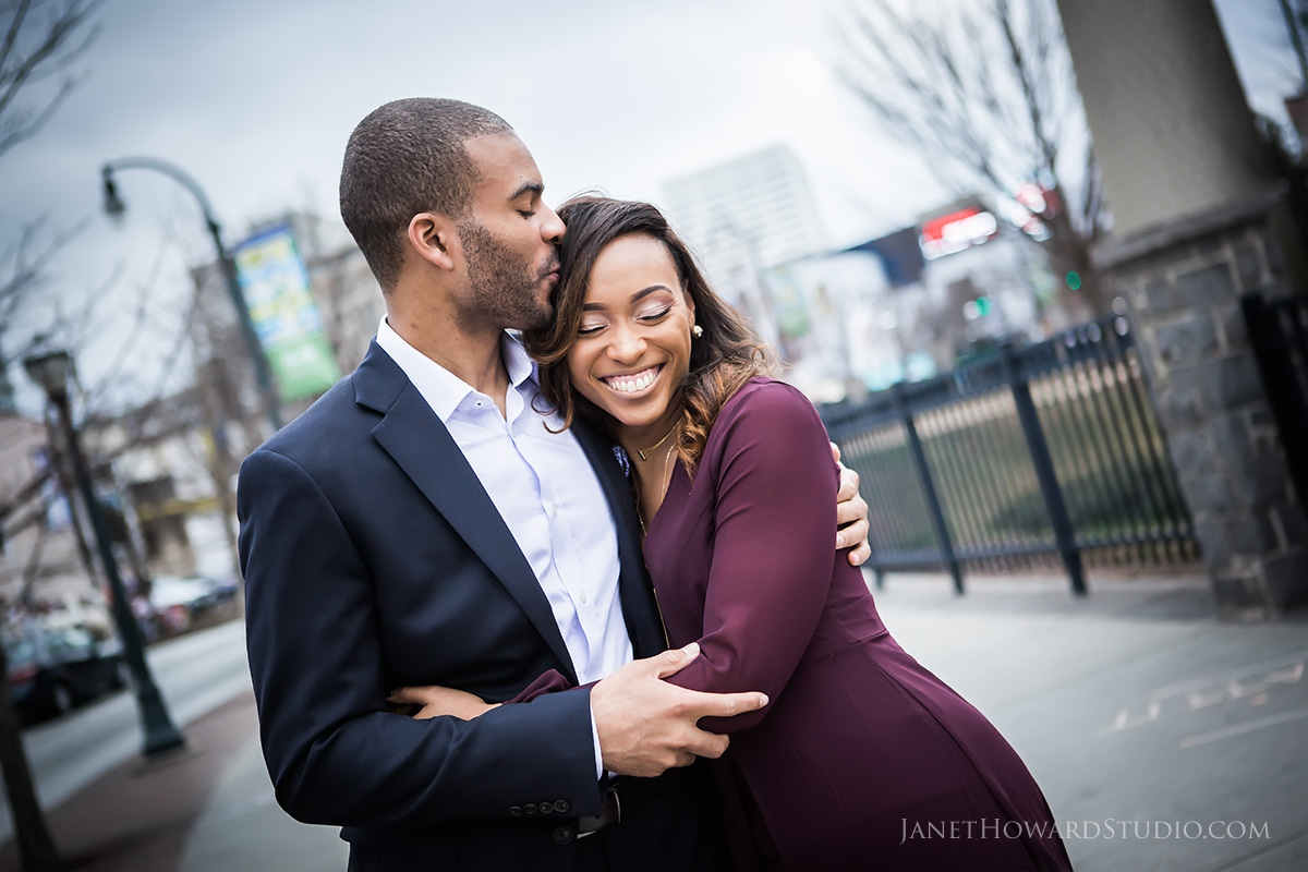 Atlanta engagement photos at sky view ferris wheel