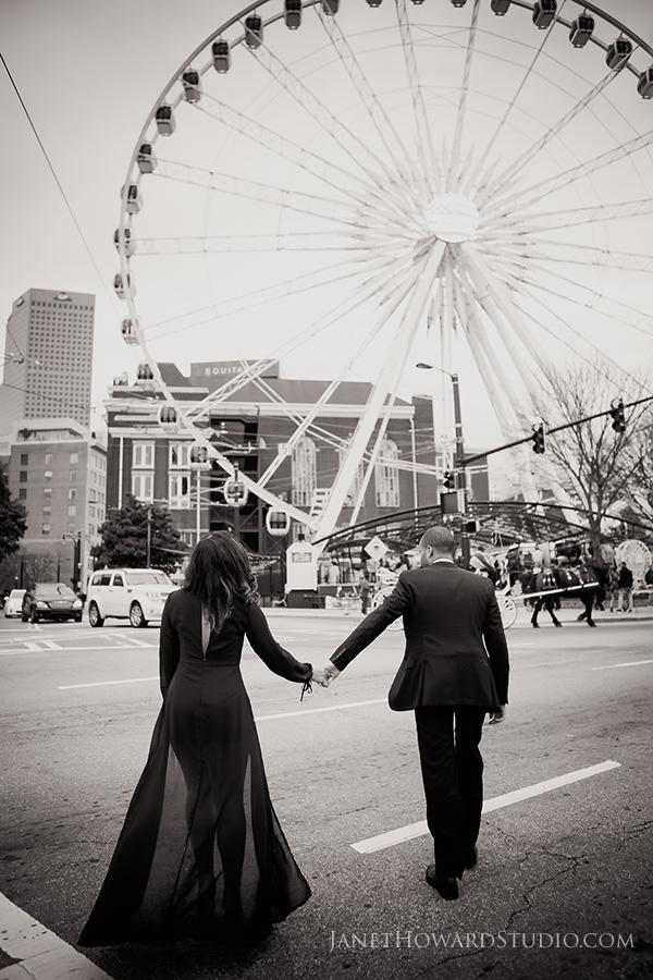 Atlanta engagement photos at sky view ferris wheel