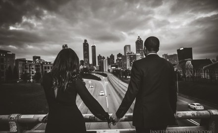 Atlanta engagement photos at Jackson Street Bridge