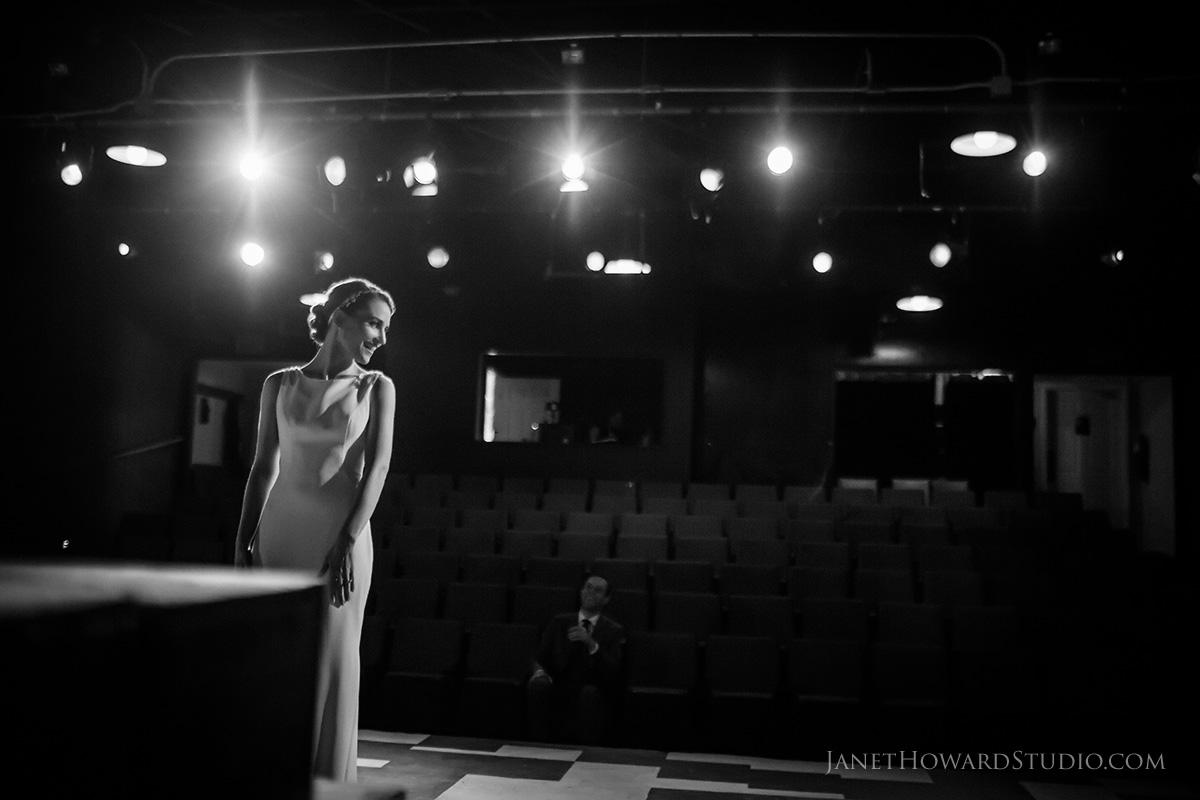 Bride + Groom first look on stage