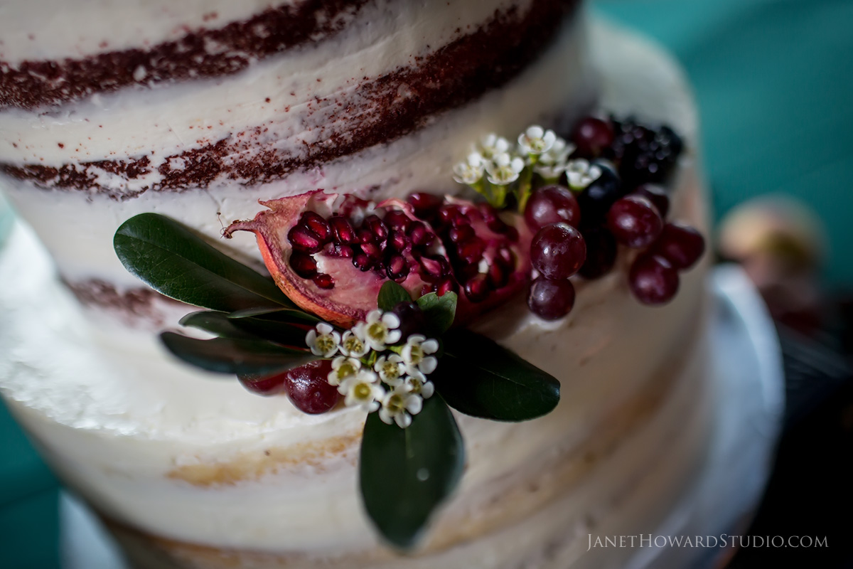 Wedding cake with fresh fruit decoration
