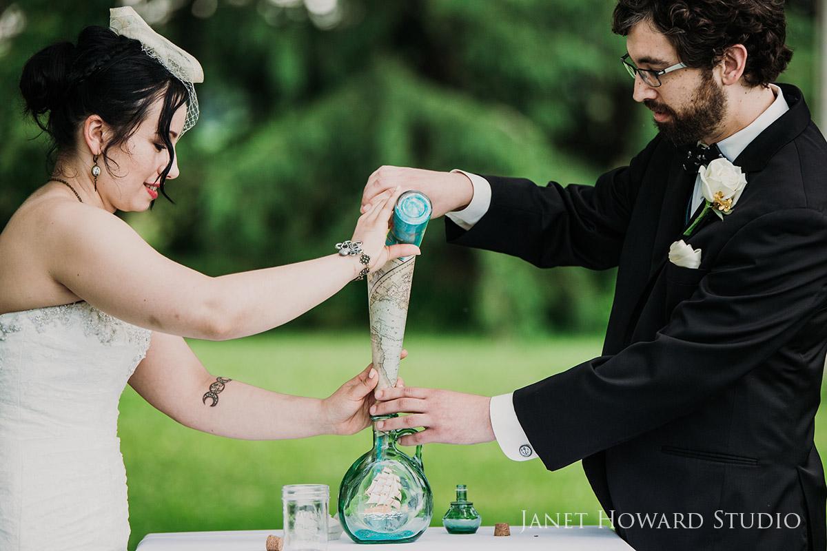 Pirate themed wedding sand ceremony