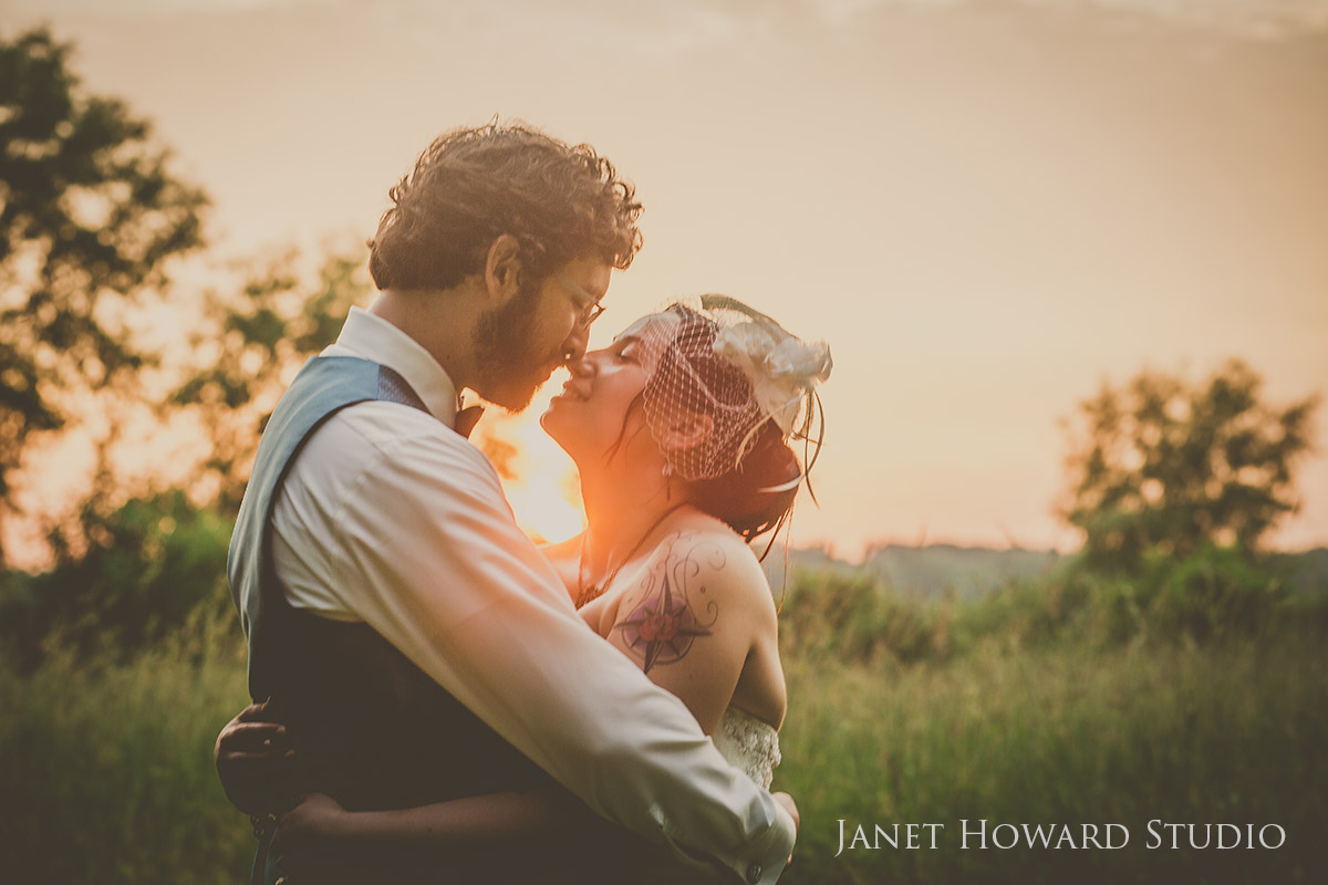 Sunset bride and groom photos